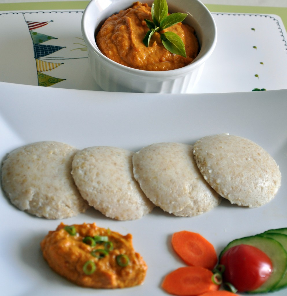 Carrot Chutney served with idly