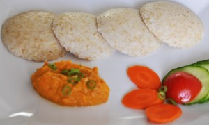 Wheat Rava Idly with Carrot Chutney