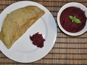 Beetroot chutney served with pesarattu