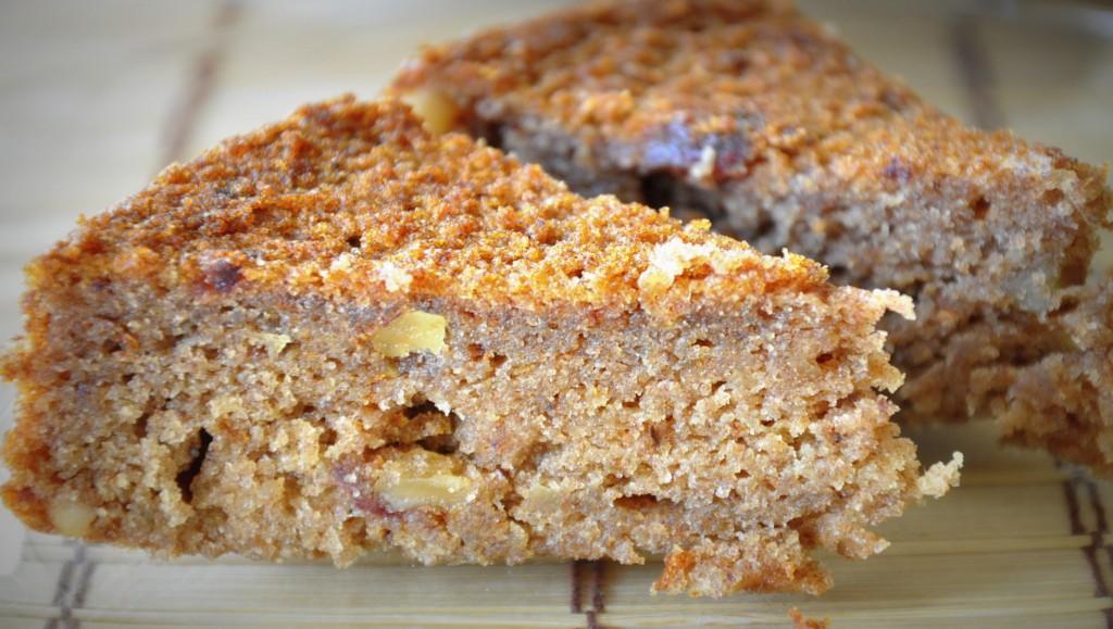 vegan whole wheat dates walnut cake slice