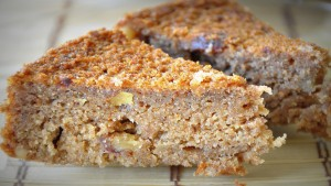 vegan whole wheat dates walnut cake slice