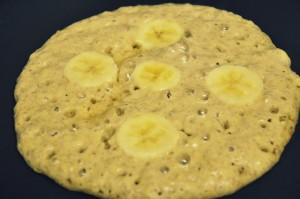 Vegan whole wheat banana pancake making 1